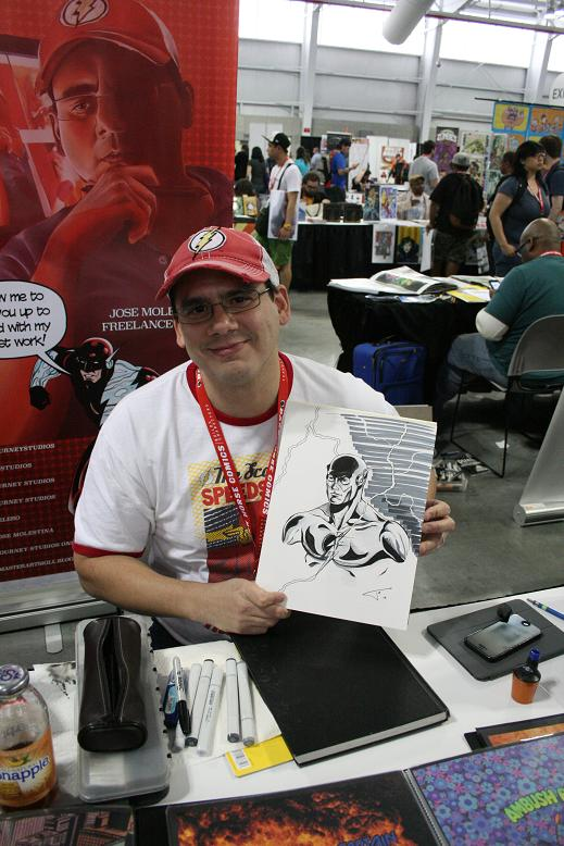 Jose Molestina of Journey Studios and his sketch of the Flash, the newest addition to my comic art collection.